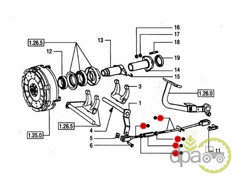 Tija pedala ambreiaj  New Holland 5096080